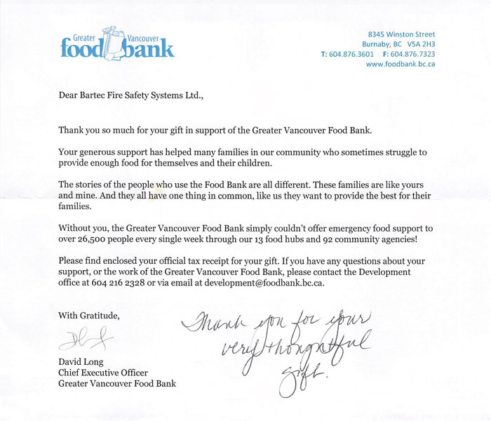 Food Bank letter Jan 2020